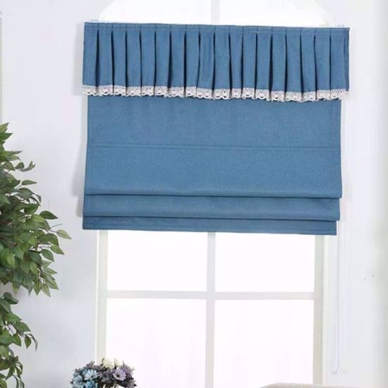 Picture of 230cm by 100cm width blue roman blinds Up and down the curtain